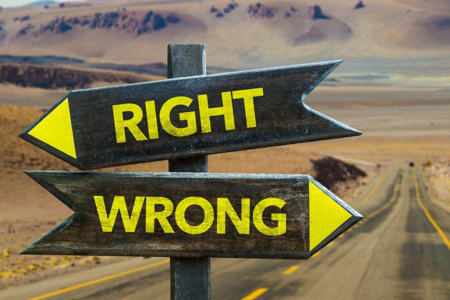 Right and Wrong crossroad