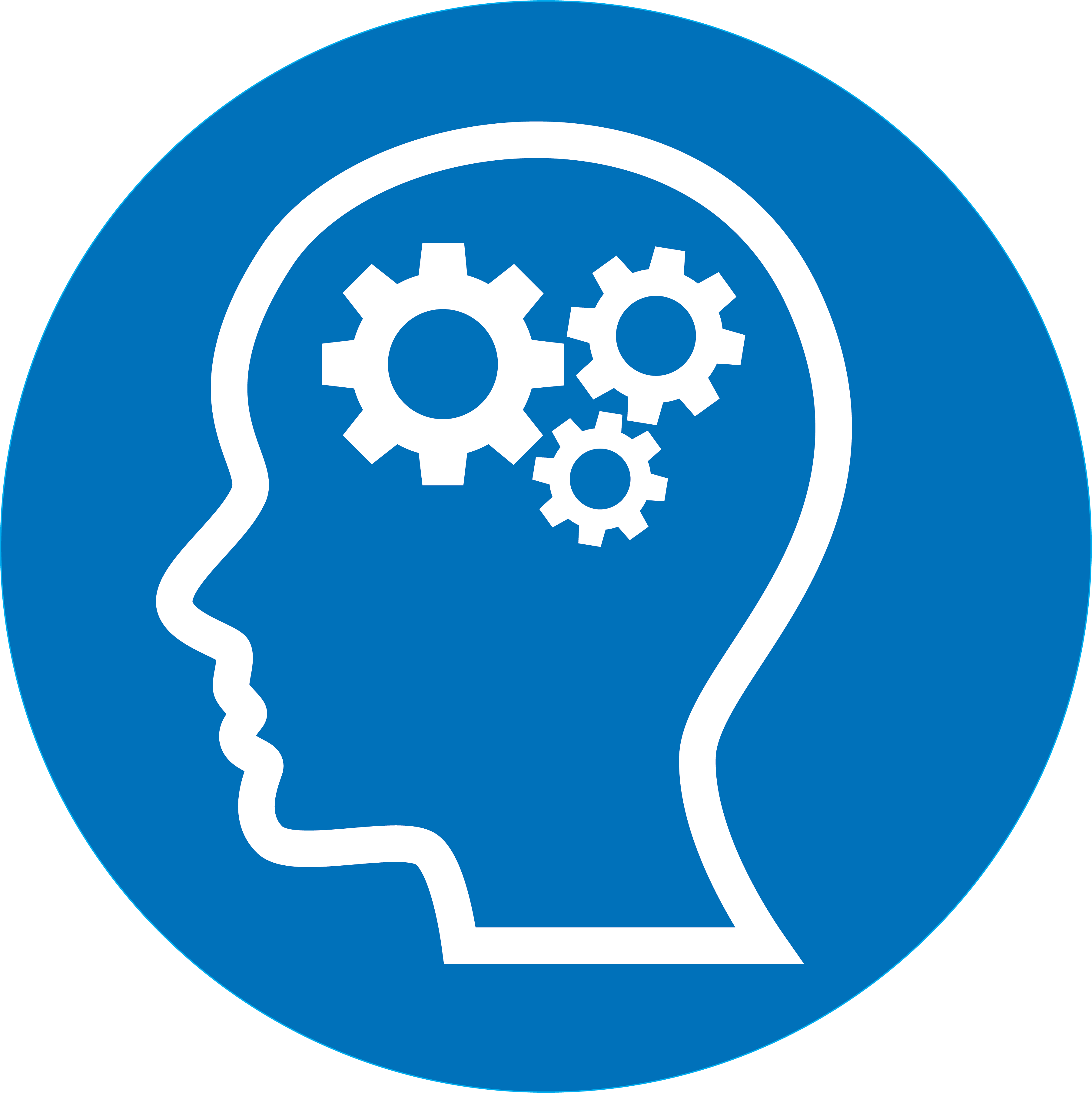 gears turning inside brain icon
