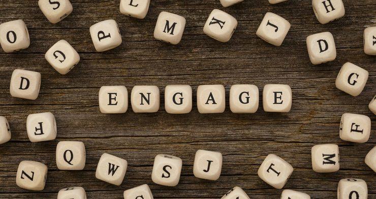 Word ENGAGE written on wood block,stock image